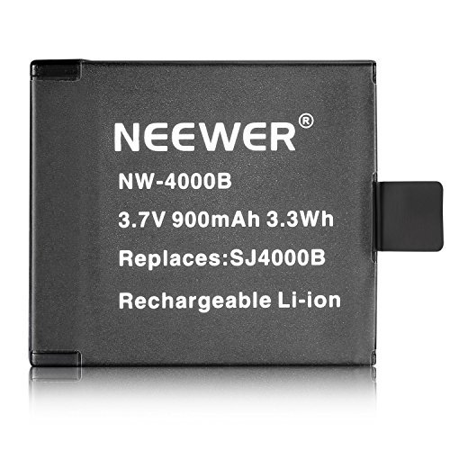 Neewer NW4000B 3 7V 900mAh SJ4000B Replacement Battery for SJ4000 SJ5000 SJ6000 SJ7000 of RioRand AFUNTA SJCAM DBPOWER QUMOX Tronsmart MeGoodo Tronsport and Neewer Action Camera