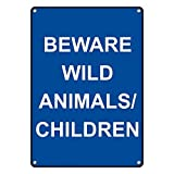Weatherproof Plastic Vertical Beware Wild Animals/Children Sign with English Text