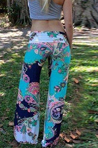 Floreale Larghi Baggy Pantaloni Dritti Libero Nahen Pantaloni Estivi Taille Trousers Accogliente Baggy Lunga Di Modern Elastica Stile Cute Blau Stampate Tempo Chic Boho Donna Pantaloni Pantaloni Vita 5yc0W0