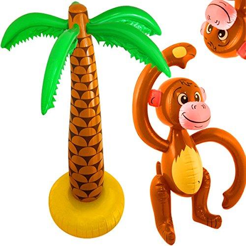 German Trendseller® - Affe & Palme zum Aufblasen ┃ Strand Party ┃ 90 cm ┃ Hawaii ┃ Aloha ┃ Party Set