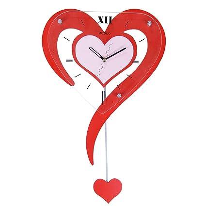 Wooden Wall Clock, Silent Personality Wall Clock, Wall Clock Fashion Heart-shaped Pendulum