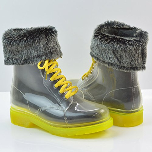 LvRao Mujer Boots de Goma de Lluvia Nieve Calentar Botas de Tobillo Transparente Impermeable Bota Corto con Cordones de Zapatos Amarillo con Pelaje