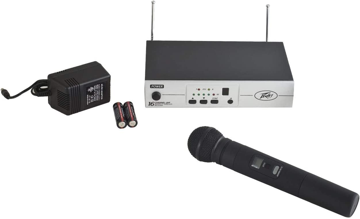 Peavey PV 16 Channel UHF Wireless Lavalier Microphone System Mic and Receiver