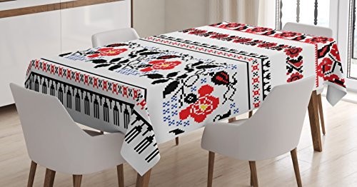 Lunarable Ukrainian Tablecloth, Russian Rushnik Floral Arrangement Eastern European Folklore Ornaments, Dining Room Kitchen Rectangular Table Cover, 60 W X 84 L inches, Royal Blue Black Red