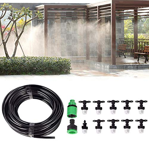 Kadaon 10m Home Garden Patio Misting Micro Flow Drip Irrigation Misting Cooling System with 10pcs Plastic Mist Nozzle Sprinkler for Plant Flower (Patio Mister T)