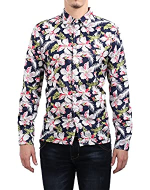 Men's Shirts Floral Print Slim Fit Long Sleeve Casual Button Down Shirt