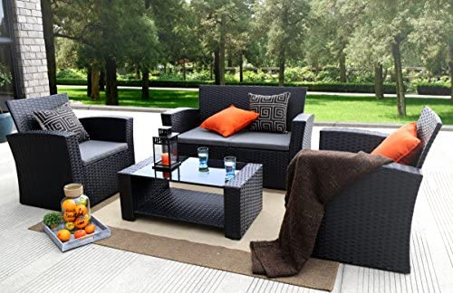 Baner Garden 4 Pieces Outdoor Furniture Complete Patio Cushion Wicker P.E Rattan Garden Set