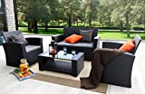 Baner Garden (N87) 4 Pieces Outdoor Furniture Complete Patio Cushion Wicker Rattan Garden Set, Full, Black