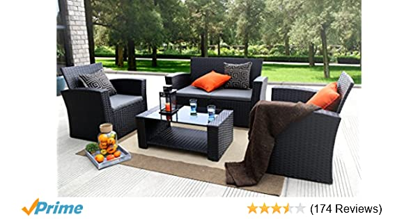 Baner Garden (N87) 4 Pieces Outdoor Furniture Complete Patio Cushion Wicker  PE Rattan Garden Set, Full, Black