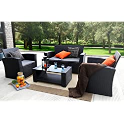 Garden and Outdoor Baner Garden 4 Pieces Outdoor Furniture Complete Patio Cushion Wicker P.E Rattan Garden Set, Full, Black patio furniture sets