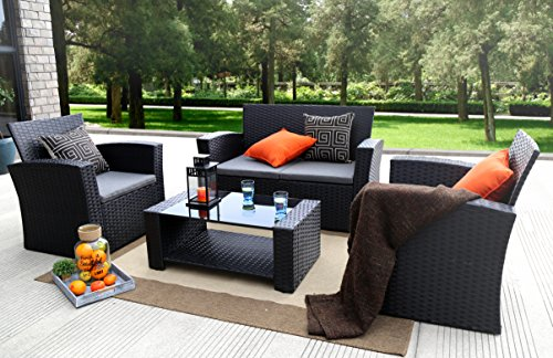 Baner Garden (N87) 4 Pieces Outdoor Furniture Complete Patio Cushion Wicker P.E Rattan Garden Set, Full, Black (Fortunoff)