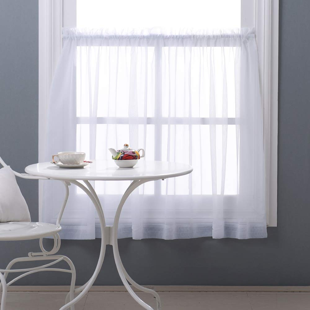 "NICETOWN 36"" Sheer Curtains for Kitchen - Window Treatment Plain Sheer Voile Tier Curtain Valance for Half Window (One Panel, W60 x L36, White)"