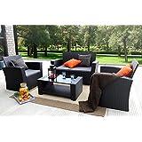 Baner Garden (N87) 4 Pieces Outdoor Furniture Complete Patio Cushion Wicker  P.E Rattan Garden Set, Full, Black