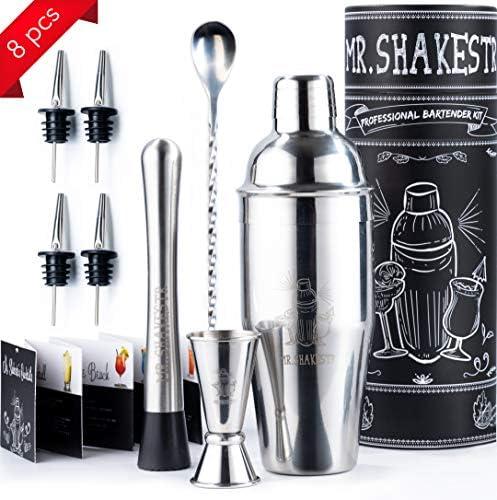 Mr. Shakestr Cocktail Shaker Set Bar Kit Cocktail Set – Liquor Shaker Bartenders Kit Bar Tool Set – Bartending Kit Shaker Bar Utensils Set – Mixology Kit Set – Bar Tools