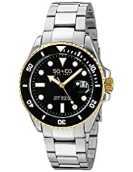 SO&CO New York Yacht Timer Specialty 23K Gold Plated Two-Tone Mens Stainless Steel Professional Diver Watch