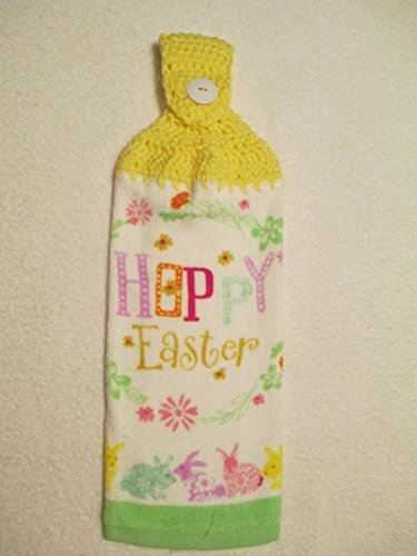 - Crocheted Happy Easter Kitchen Towel with Lemon Yellow Yarn