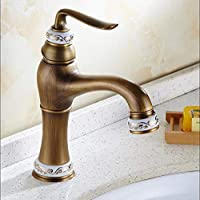 HRFFCLH Household European Retro Copper Antique Hot and Cold Faucet Basin Faucet