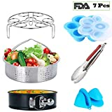 Instant Pot Accessories Set 7 Pcs with Steamer Basket,Egg Steamer Rack,Non-Stick Springform Pan,Egg Bites Molds,Kitchen Tongs,Fits Instant Pot 6, 8 qt,Silicone Cooking Anti-Scald Gloves