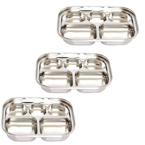 Stainless Steel Divided Tray Divided Dinner Snack Plate Kids Baby Plate Diet Plate Diet Food Control Tray 5sections Set (247x183x36mm 3pack) (Best Stainless Steel Plates)