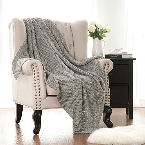 Bedsure Knitted Throw Blanket for Sofa and Couch, Lightweight, Soft & Cozy Knit Throws - Grey, (Knitted Throw)