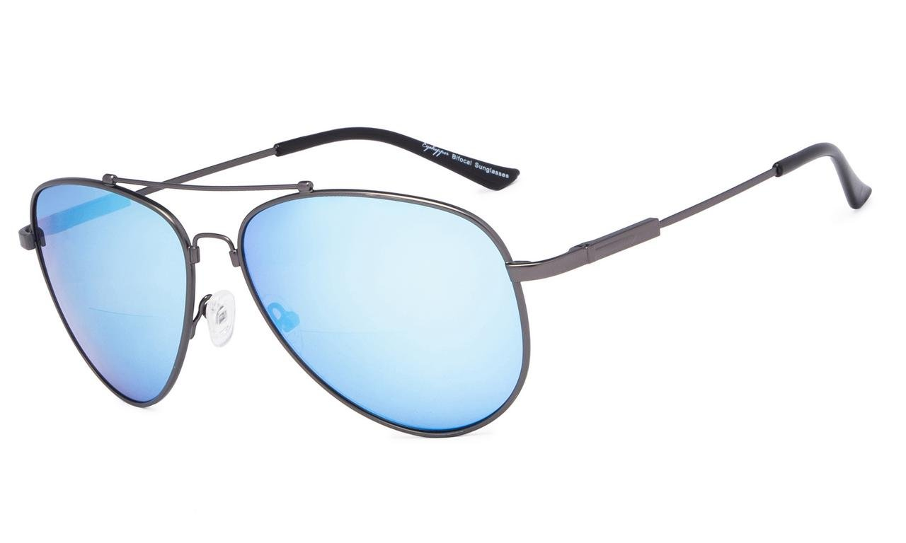 d8ee70104c Eyekepper Bifocal Sunglasses - Polit Style Reading Sunglass with Memory  Bridge and Arm (Gunmetal Frame Blue Mirror