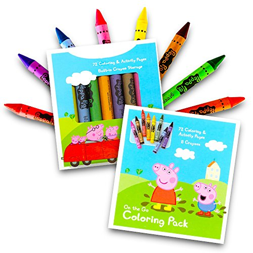 Peppa Pig On the Go 72 page Coloring Activity Book With a Set of 8 Easy to Grip Colorful Jumbo Crayons
