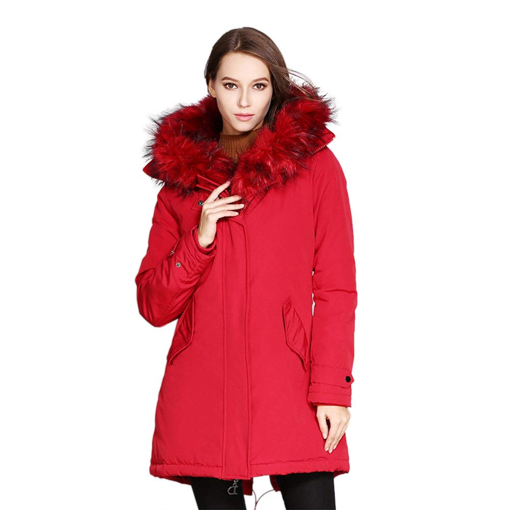 Guaner Women's Thicken Down Coats Parkas with Hood Removable Fur Collar Trim, 100% Down Cotton Winter Long Down Jacket