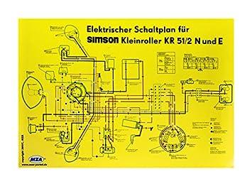 MZA Schaltplan Farbposter (69x49cm) Simson Schwalbe KR51/2 N und E ...