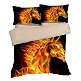Nostalgic Fire 3D Horse Cotton Microfiber 3pc 104''x90'' Bedding Quilt Duvet Cover Sets 2 Pillow Cases King Size