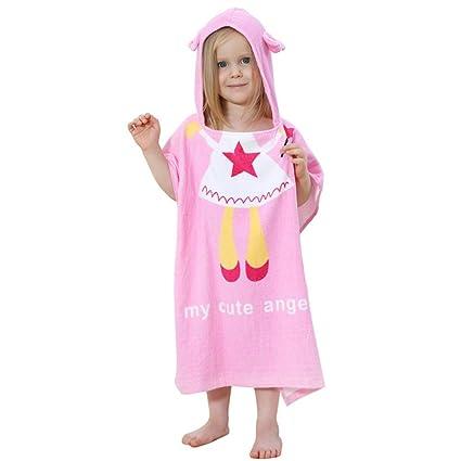 DINGANG® Cartoon niños Poncho con capucha de baño/playa toalla, 100% algodón