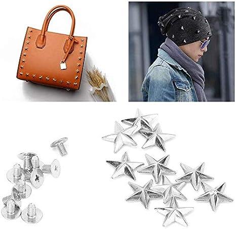 HEEPDD 10 Remaches de Metal de 14 mm, Remaches de Estrella para Punk Rock artesanía Cuero Ropa cinturón Bolsos Zapatos Accesorios (14 mm Plata)