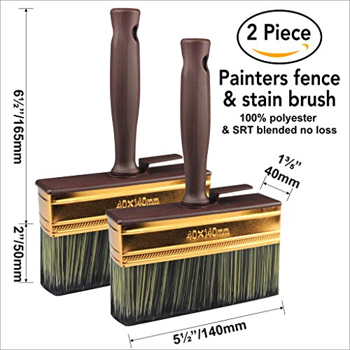2 Piece Paint brush,paint brushes, double thick,stain brush,fence brush, 5-1/2 inch (Outdoor Stain Wood)