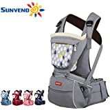 SUNVENO Baby Hipseat Carrier 2in1 Comfort Ergonomic Waist Stool Baby Carrier Hip Seat (Gray)