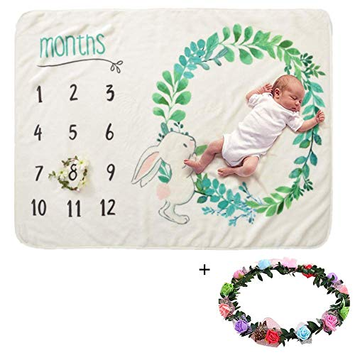 Soft Baby Blanket for Boy Girl Baby Milestone Blanket Newborn Photo Props Large 40 x 60 inches Cover Baby Shower Gift,Green with ()