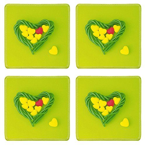 Liili Natural Rubber Square Coasters IMAGE ID: 28563683 Image of Yellow and Red Heart