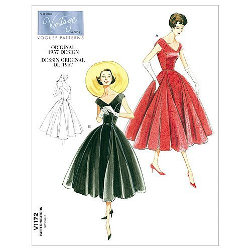1950s Sewing Patterns | Dresses, Skirts, Tops, Mens 1957 Vogue Patterns V1172 Misses/Misses Petite Dress and Belt Size AA (6-8-10-12) $14.04 AT vintagedancer.com