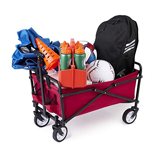 - Seina Steel Compact Collapsible Folding Outdoor Portable Utility Cart in Red
