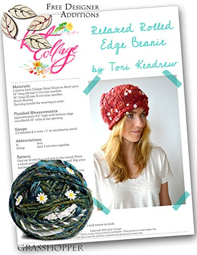 Knitting Kit: Rolled Edge Beanie from Knit Collage (Grasshopper) - Edge Beanie
