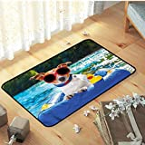 Outdoor Mats, Versatility for Living Room Kids Room Bedroom Rugs for Living Room,Children Playroom, Funny Jack Russell with Sunglasses - W19 x L31