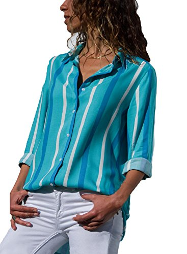 Stripes Tops for Women Summer Collared Cuffed Sleeve Button-up Blouse Casual Shirt Blue4 XL ()