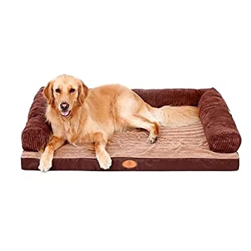Cama de perro - Sofá ortopédico, Cama para Mascotas, Superficie Suave y acogedora, para Perros Grandes y medianos pequeños, marrón (Tamaño : 80×60cm): ...