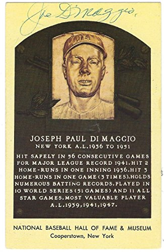 Autographed Joe DiMaggio Hall of Fame Gold Plaque