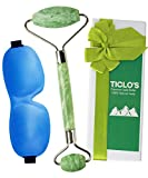 TICLO'S 100% Authentic Jade Roller For Face - Facial, Neck, and Eye Massager Made Of Premium Jade Stone - Anti Aging Massage Therapy Beauty Tool Kit For Natural Glowing Skin - BONUS 3D Sleep Mask