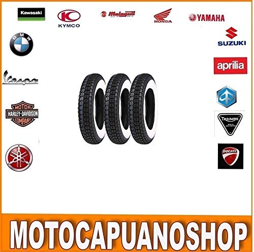 KIT 3 PNEUMATICI GOMMEPIAGGIO VESPA PX 125 150 200 FASCIA BIANCA 3.50.10 VINTAGE MotoCapuano MVT-002084127