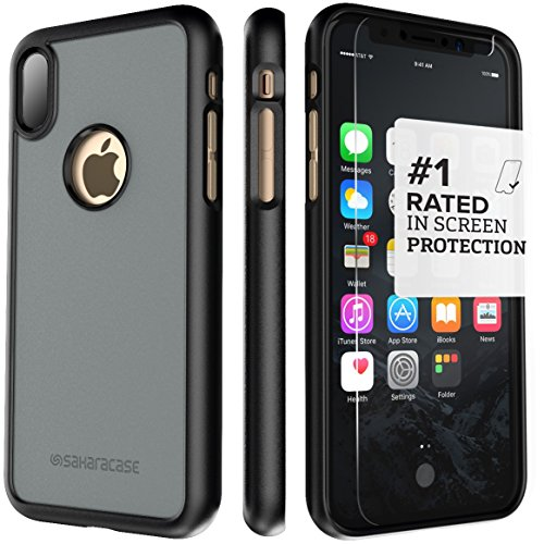iPhone x custodia, Saharacase Dbulk kit di protezione schermo in vetro temperato con [Zerodamage] Slim Fit [Presa anti-scivolo antiurto paraurti con coperchio posteriore] iPhone 10–nero grigio