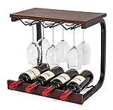 wine and glass rack - SODUKU Wine Rack Wall Mounted Handmade Metal & Wood Wine Countertop Rack Wine Storage Shelf with 4 Bottle Cages & 6 Long Stem Glass Walnut
