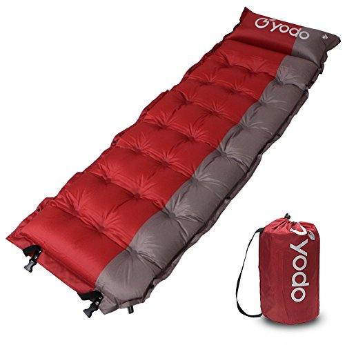 yodo Lightweight Self-Inflating Sleeping Pad with Pillow for Outdoor Camping Backpacking Hiking