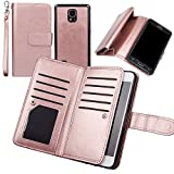 Wallet Case for Samsung Note 4, xhorizon TM FLK Premium Leather Folio Case Wallet Magnetic Detachable Removable Wristlet Purse Soft Multiple Card Slots Cover for Samsung Galaxy Note 4(Rose-gold)