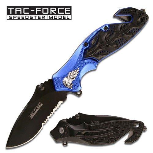 Tac-Force Speedster Flaming Skull Heavy Duty Spring Assist Rescue Knife - Black & Blue (Limited Edition)