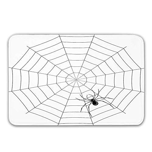 Spider Web Non Slip Door Mat,Toxic Poisonous Insect Thread Crawly Malicious Bug Halloween Character Design Decorative Doormat for Front Door Indoor,23.6